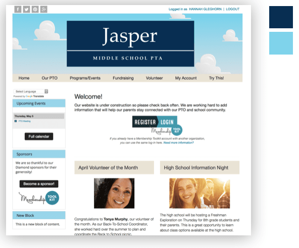 Using colors to show an easy, comfortable feel for your pta website.