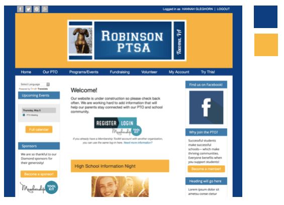 Use high impact colors on your pta website.