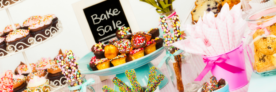 Top 35 Fundraising Ideas for your Parent Organization. Image of items at a bake sale.
