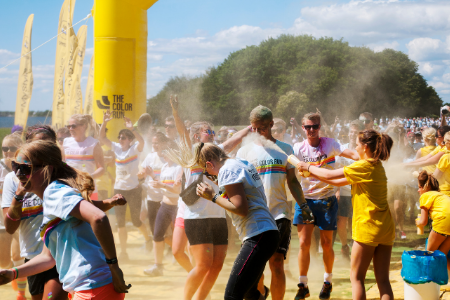 Fundraising Ideas for your Parent Organization. Iamge of kids at the end of a color run.