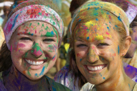 Color Runs are a Great School Fundraiser- Picture of 2 girls after participating in a color run.