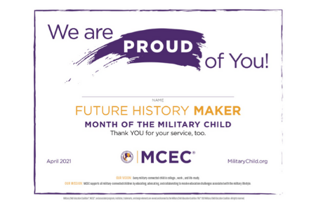 MIlitary kid certificate that can be used to clebrate Month of the Military Child. Image of the certificate.