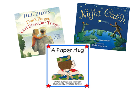 Books to support military kids. Image of 3 book covers.
