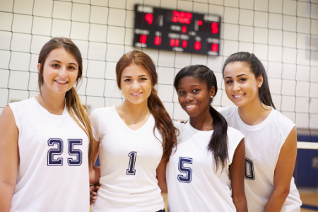 Fundraising ideas for your parent organization from Membership Toolkit. Image of 4 girls on a volleyball team.