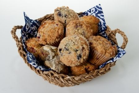 Teacher Appreciation puns from Membership Toolkit. Image of a basket of blueberry muffins.