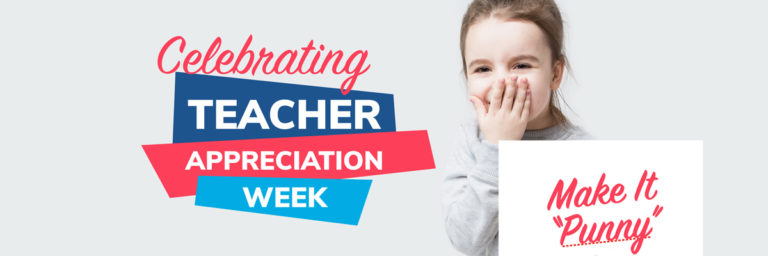 """Celebrate Teacher Appreciation Week with Puns from Memebrship Toolkit. Image of a student and a banner saying """"Celebrating Teacher Appreciation Week!"""""""